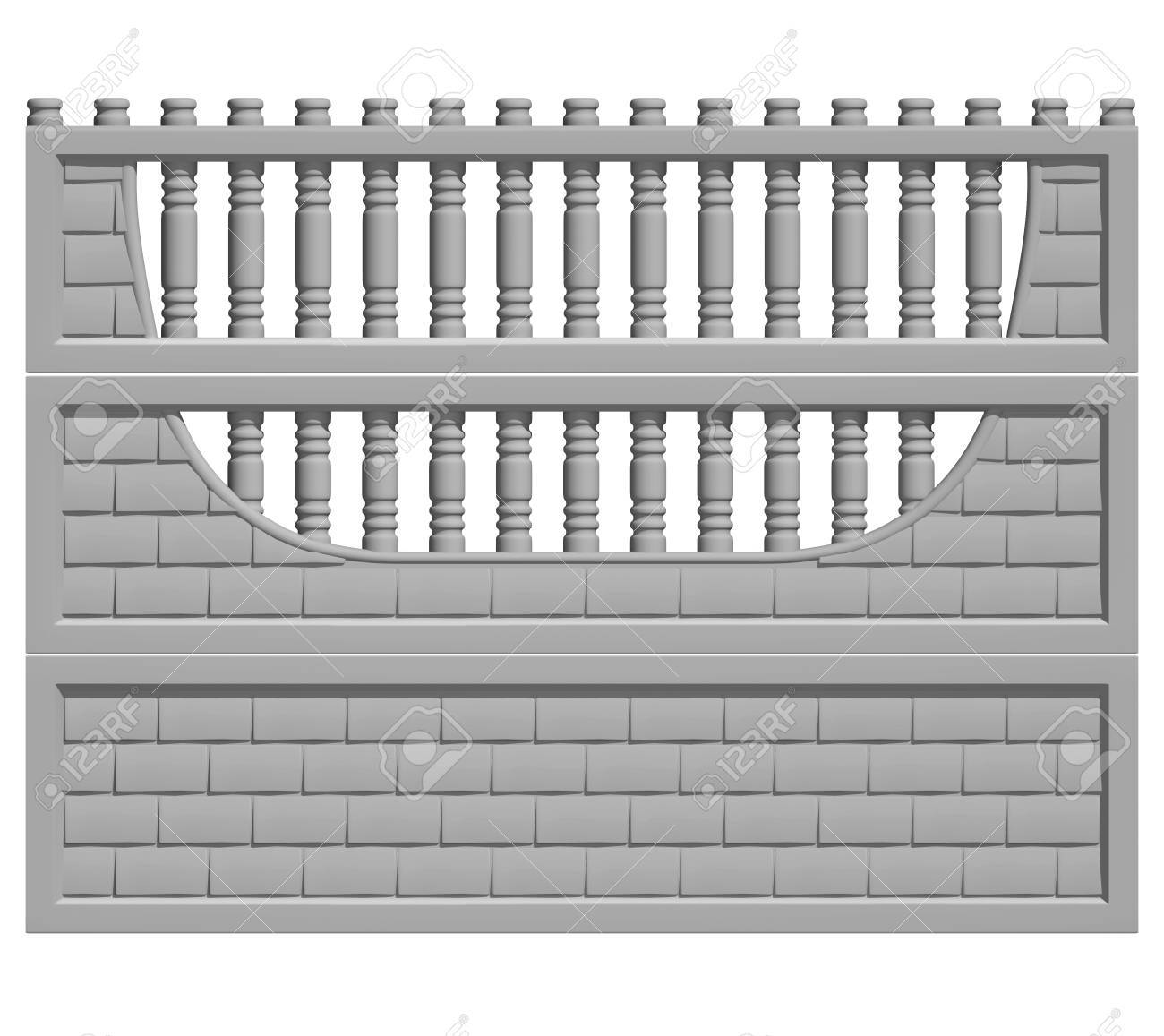 Illustration of a concrete fence on white background, product image to be included in the catalog - 36872319