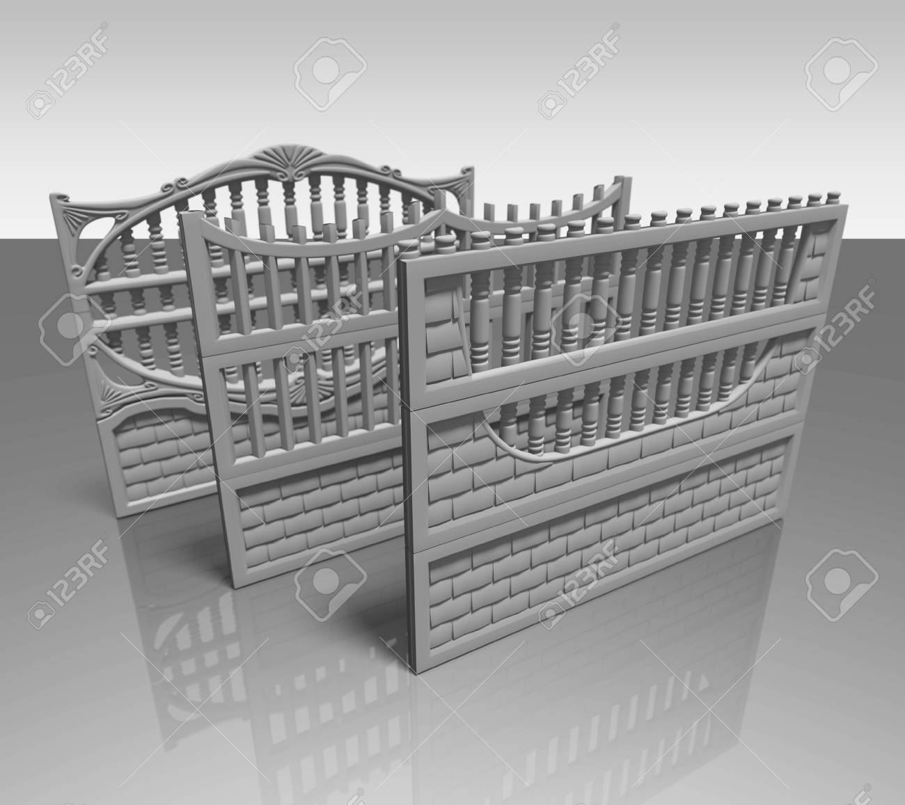 Illustration of a concrete fence on white background, product image to be included in the catalog - 37071805