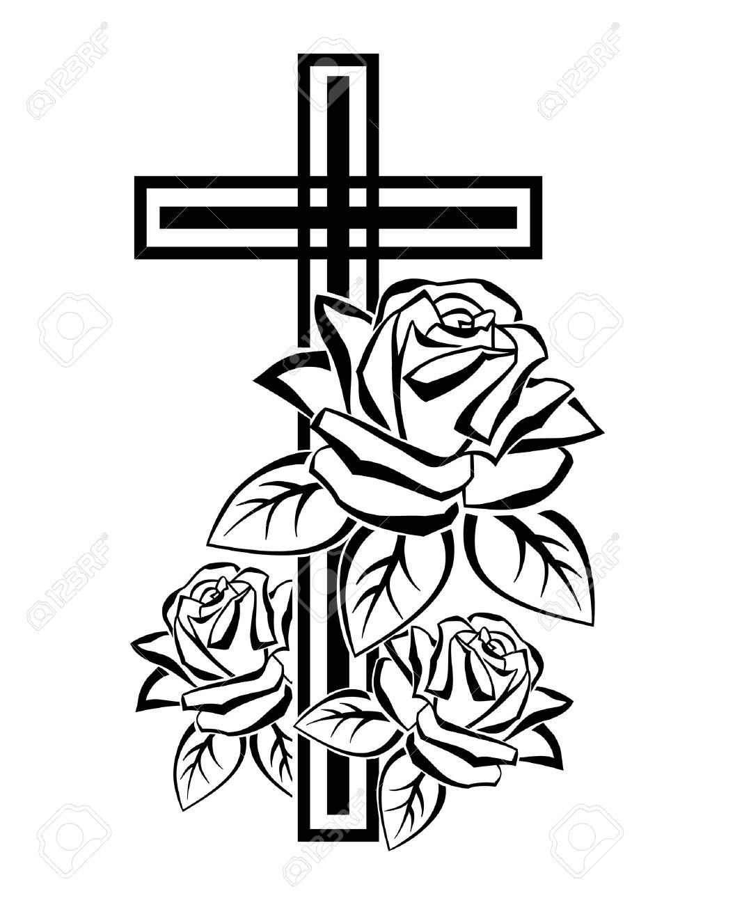 Black and white illustration of a crucifix contours with roses - 37071974