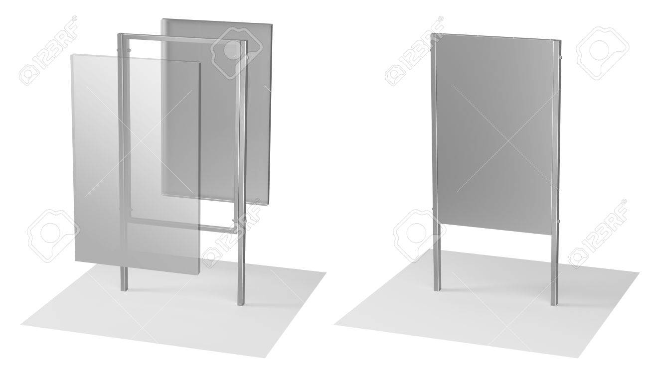 3d illustration of a steel frame made of metal signboard - 42798540