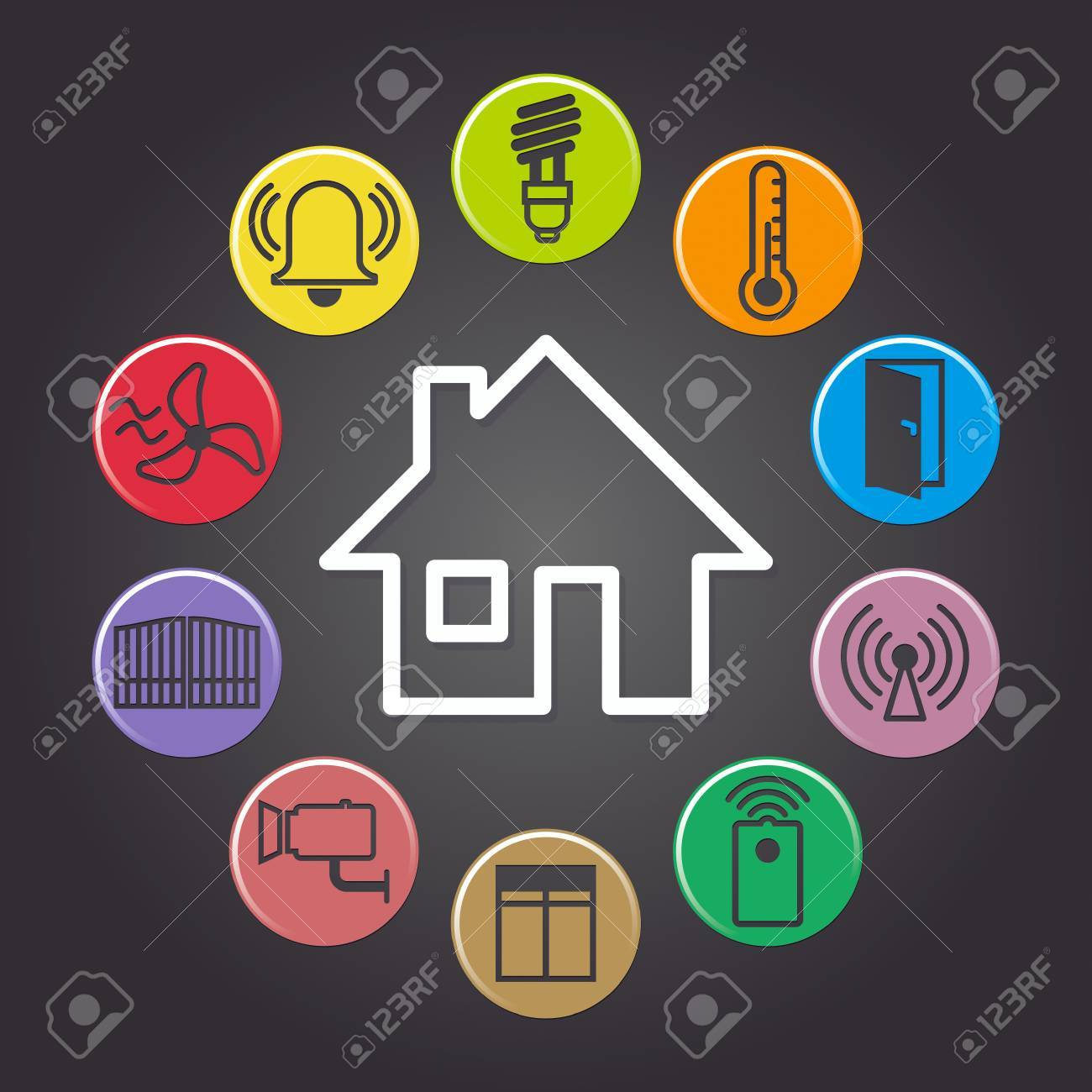 illustration of background symbolizing the smart home - 48675436