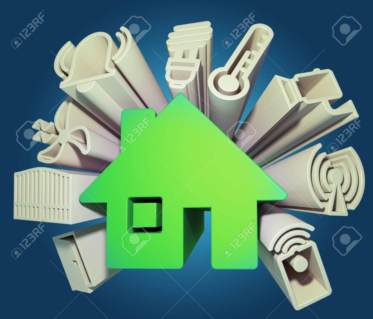 3d render illustration of icons symbolizing the smart home - 49160681