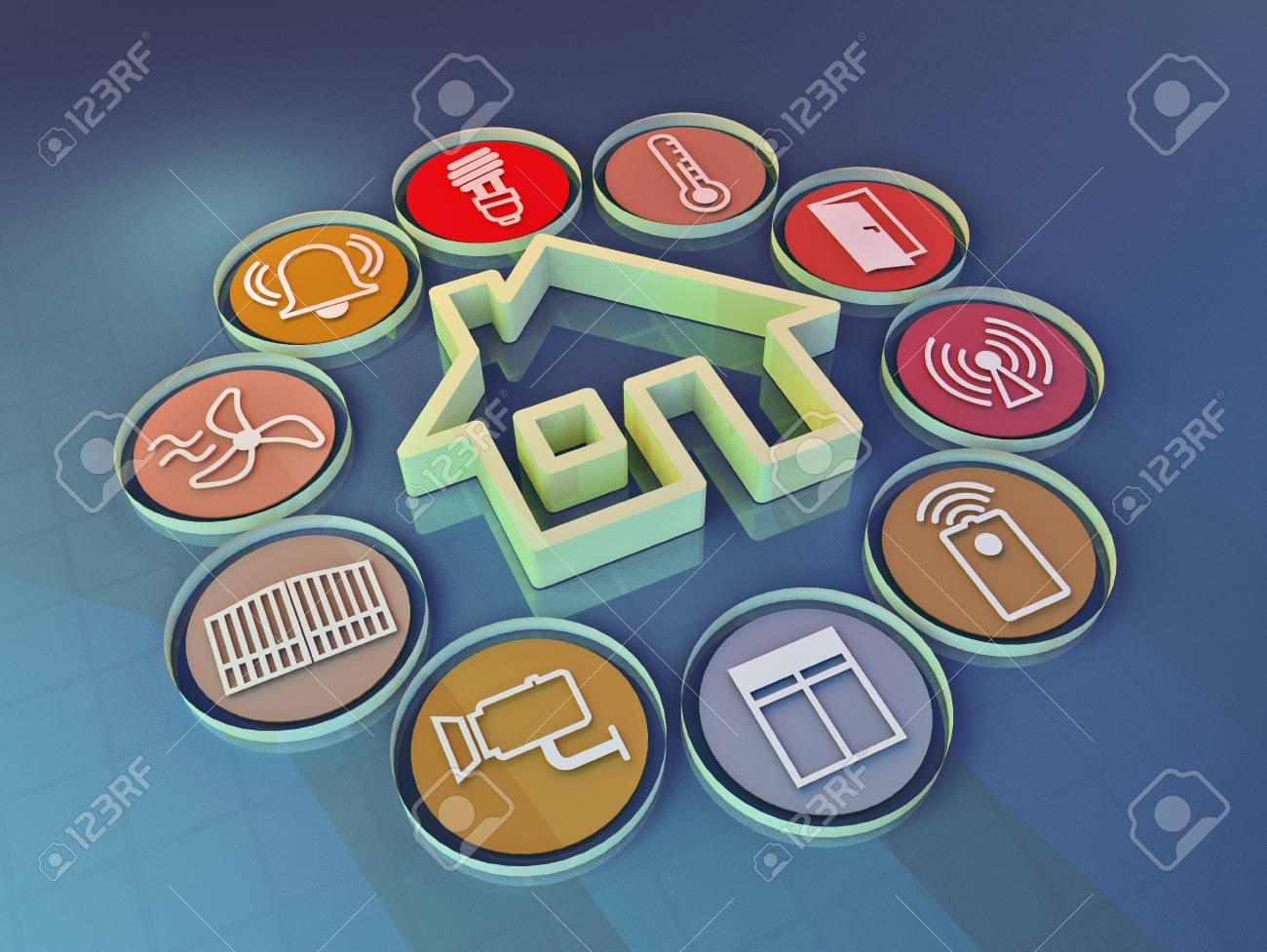 3d render illustration of icons symbolizing the smart home - 53651911