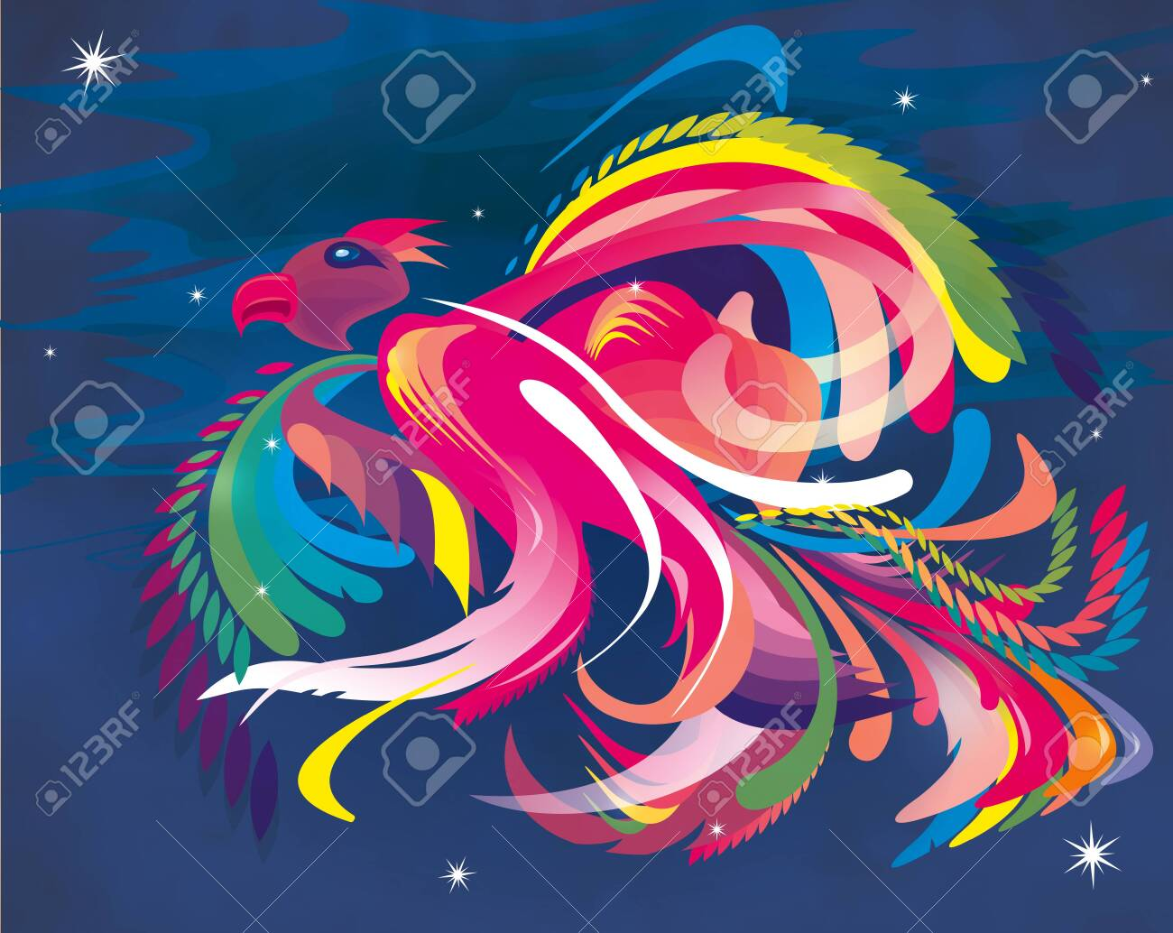 abstract illustration of a colorful bird - 120120804