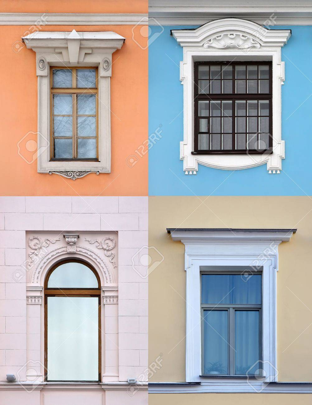ollection Of Old Windows In Different rchitectural Styles Stock ... - ^