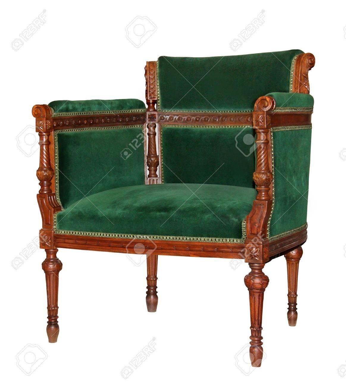 Stock Photo - Vintage green velvet chair isolated on white background - Vintage Green Velvet Chair Isolated On White Background Stock Photo