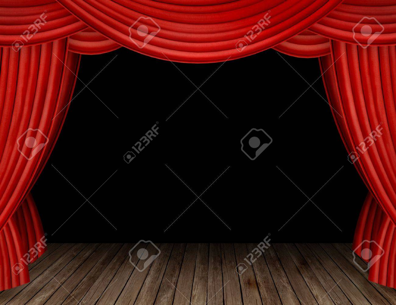 Black theatre curtain - Large Red Curtain Stage Opening With Black Background Stock Photo 9601631