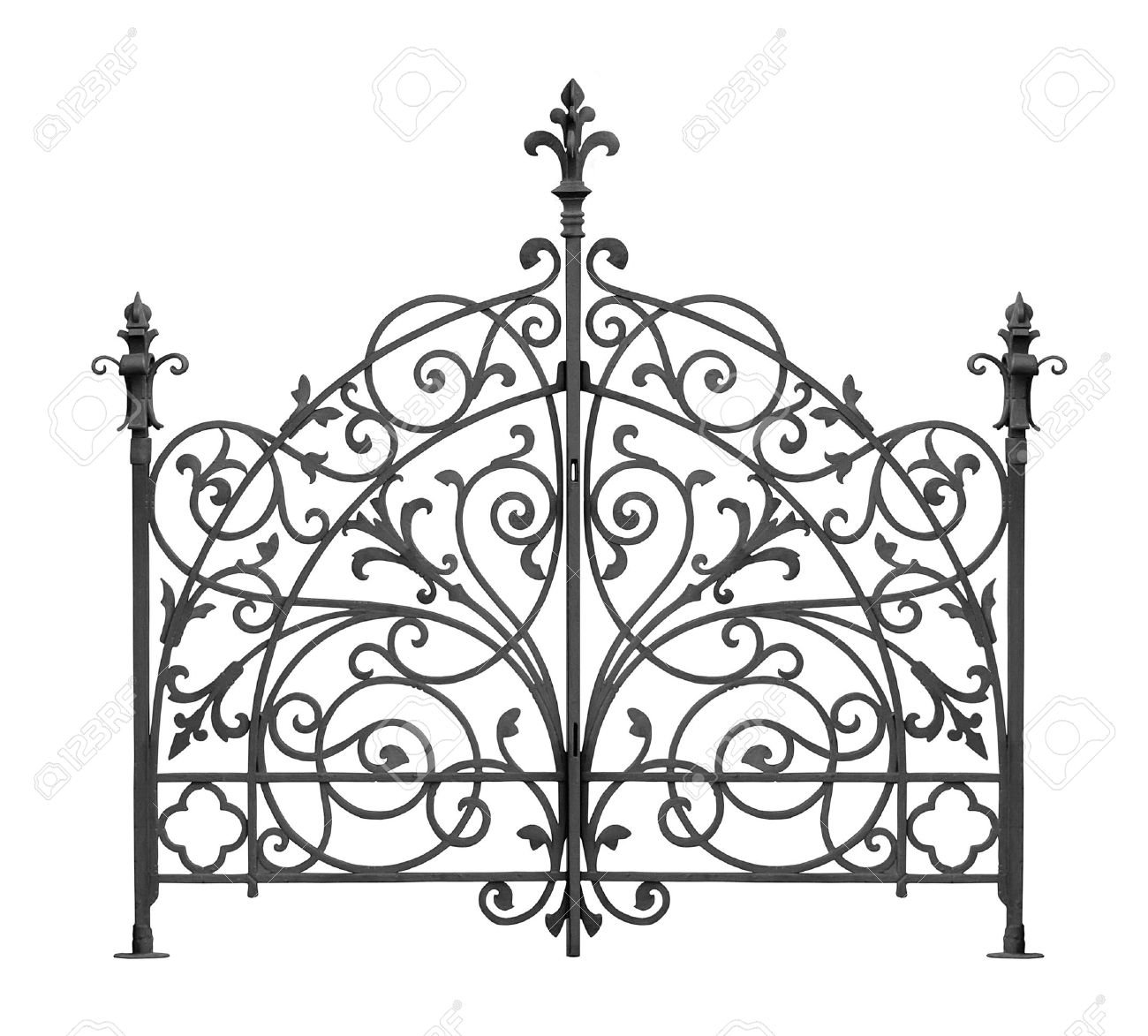 Black forged gate with decorative lattice isolated on white background Stock Photo - 10694367