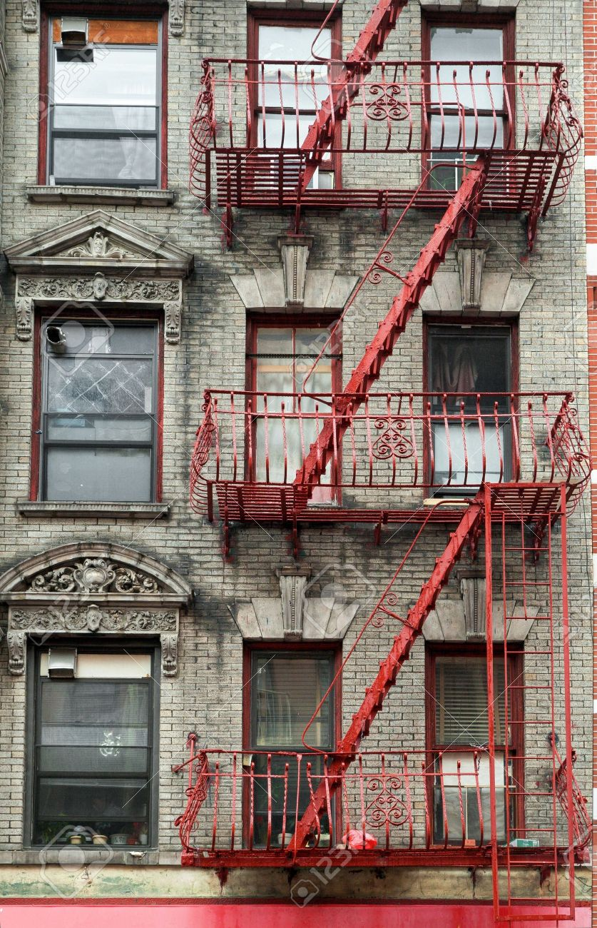 Stock Photo   Typical Building Stairs In New York Neighbourhoods, USA