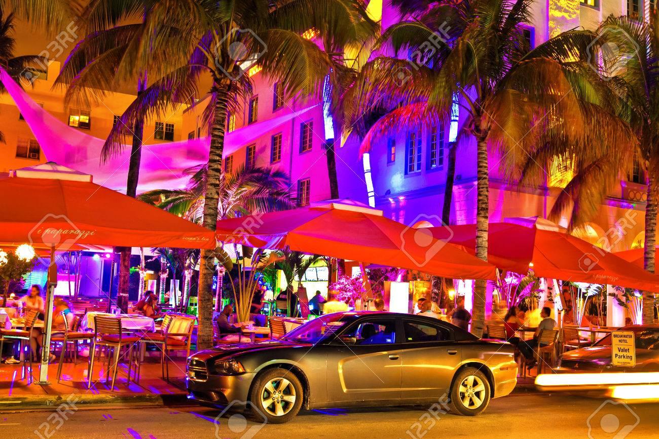 Ocean Drive Scene At Night Lights Miami Beach Florida Stock Photo