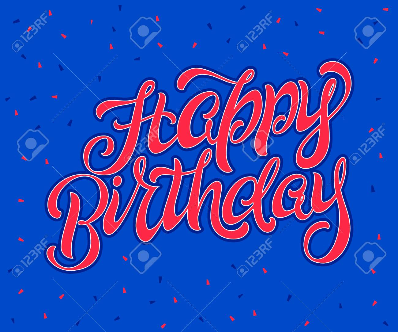 Feliz Cumpleaños Pincel Script Estilo Mano Deletreado Con Confeti Texto Feliz Cumpleaños Para Tarjeta Banner Invitación Arte Vectorial