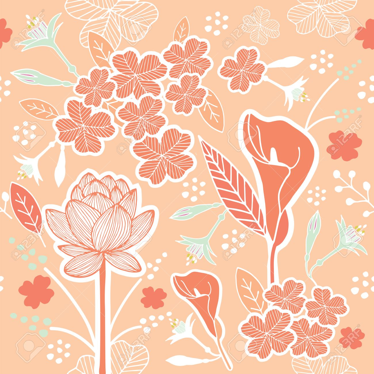 Flower or Floral and leaf pattern seamless fabric vector pastel color scheme on pastel peach background