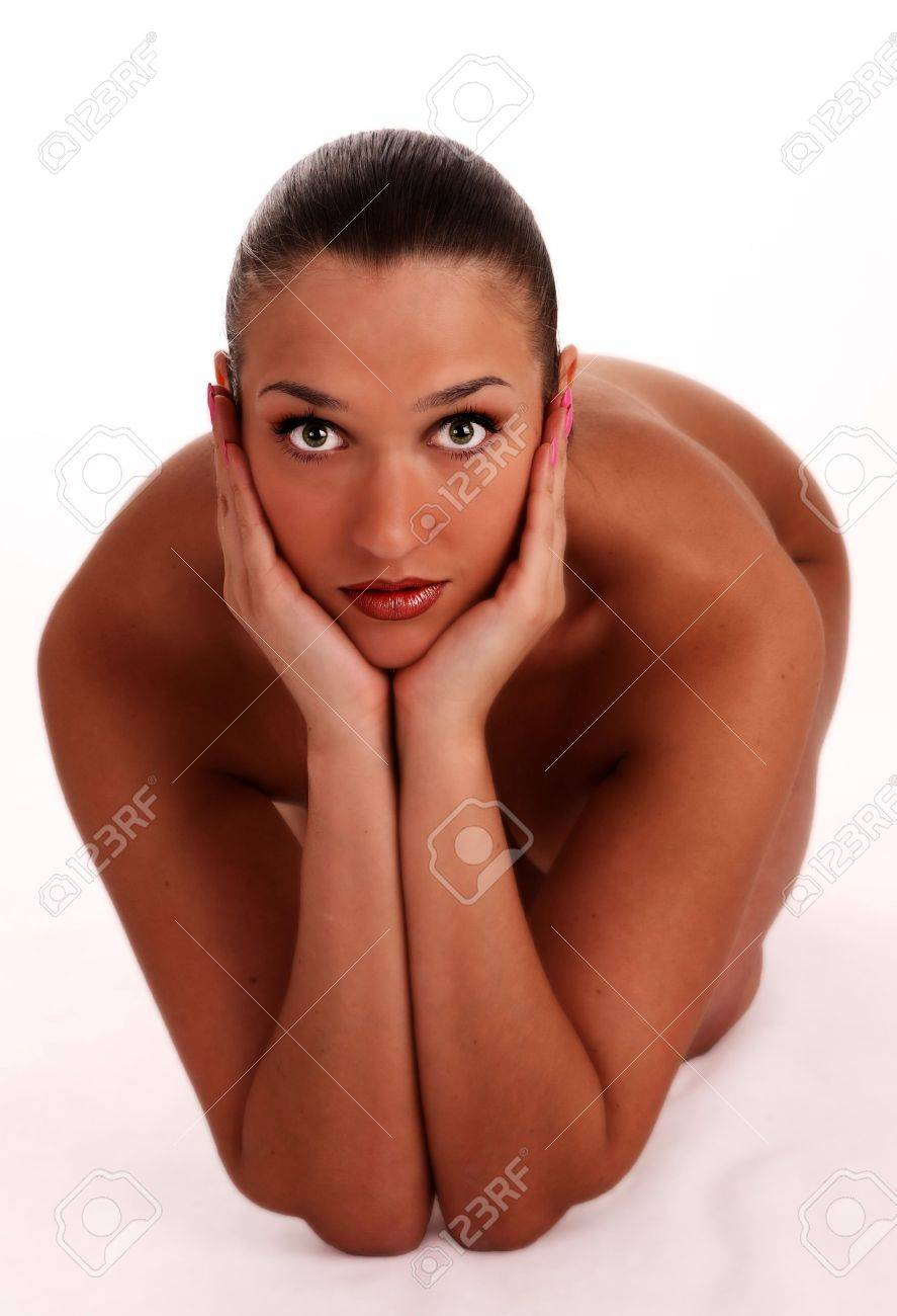 naked sexy beautiful slenderness young woman on white background Stock Photo - 5554569