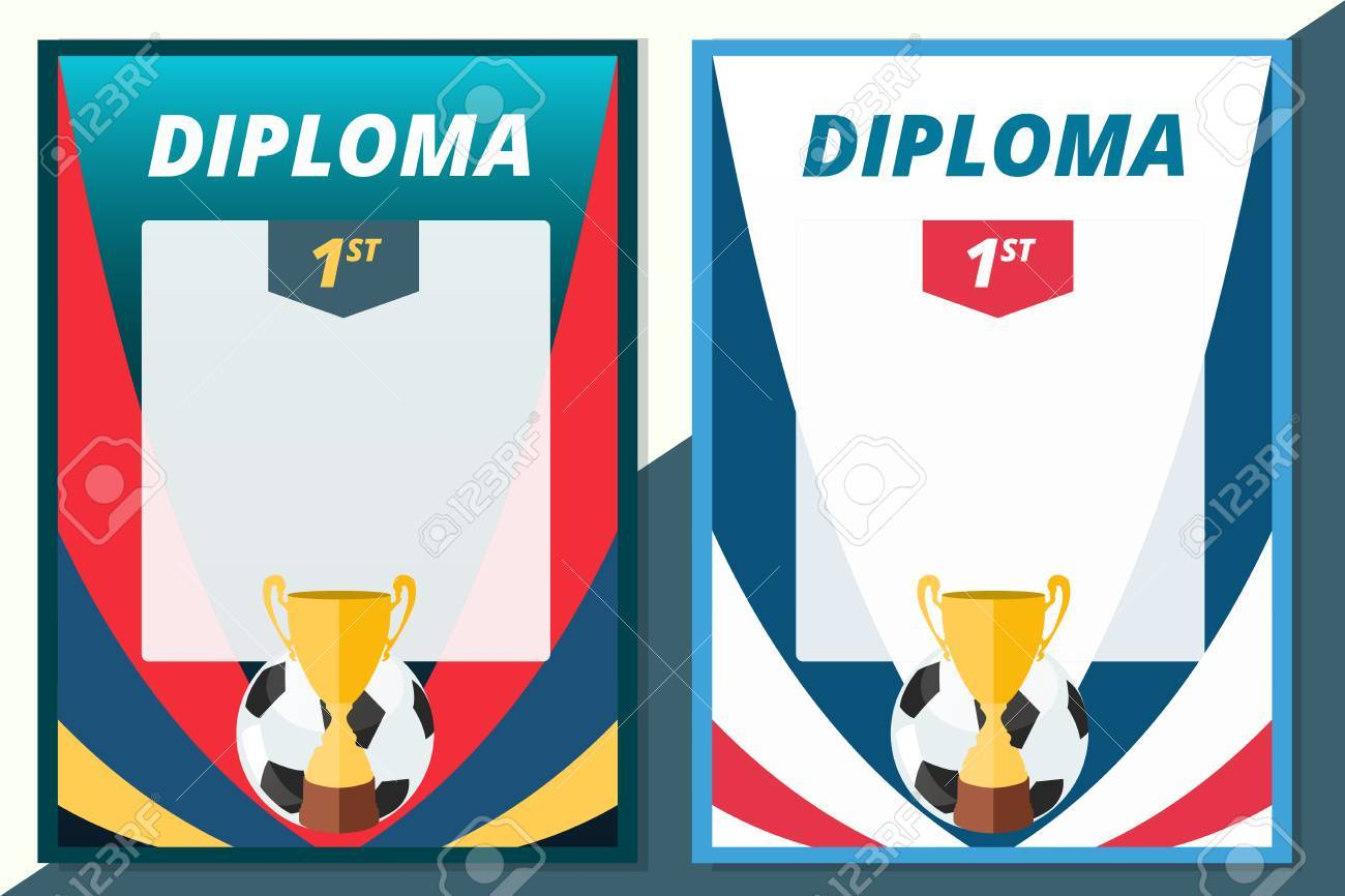 Fußball Gewinner Diplom Im A4-Format Design. Vector Fußball ...