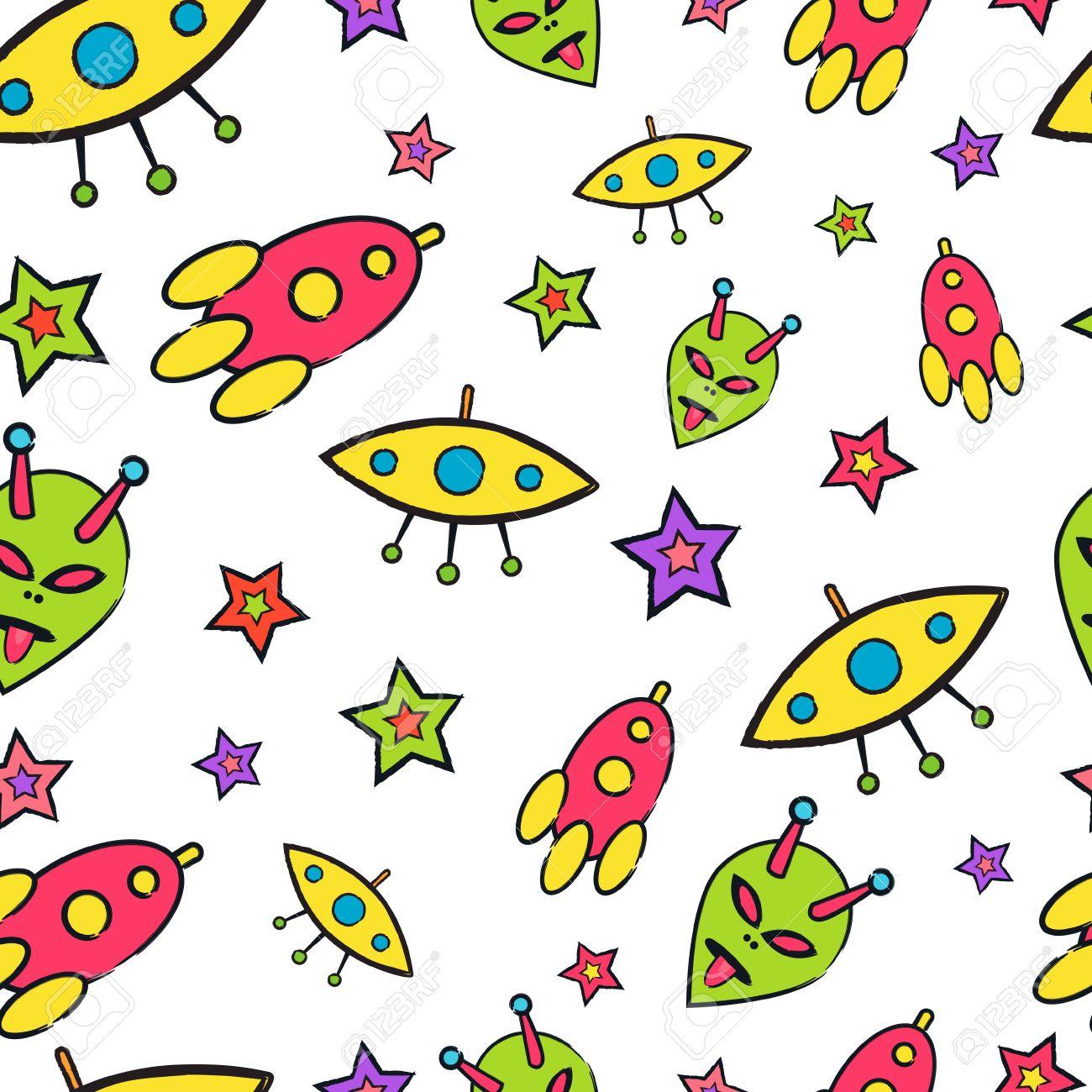 Space Digital Paper Seamless Planet /& Rocket Patterns
