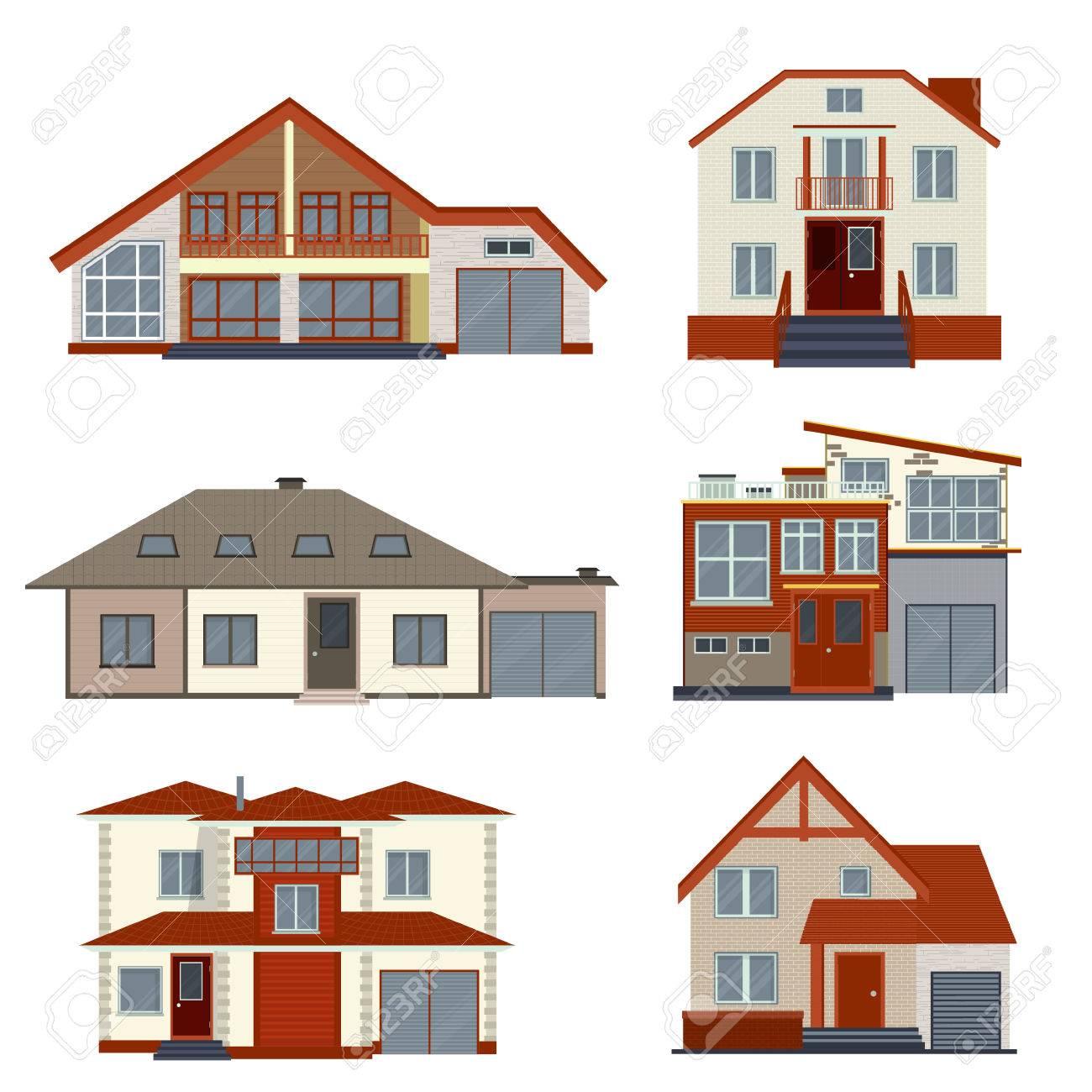 Set Von Detaillierten Häuser Und Villen Design. Sammlung Von ...