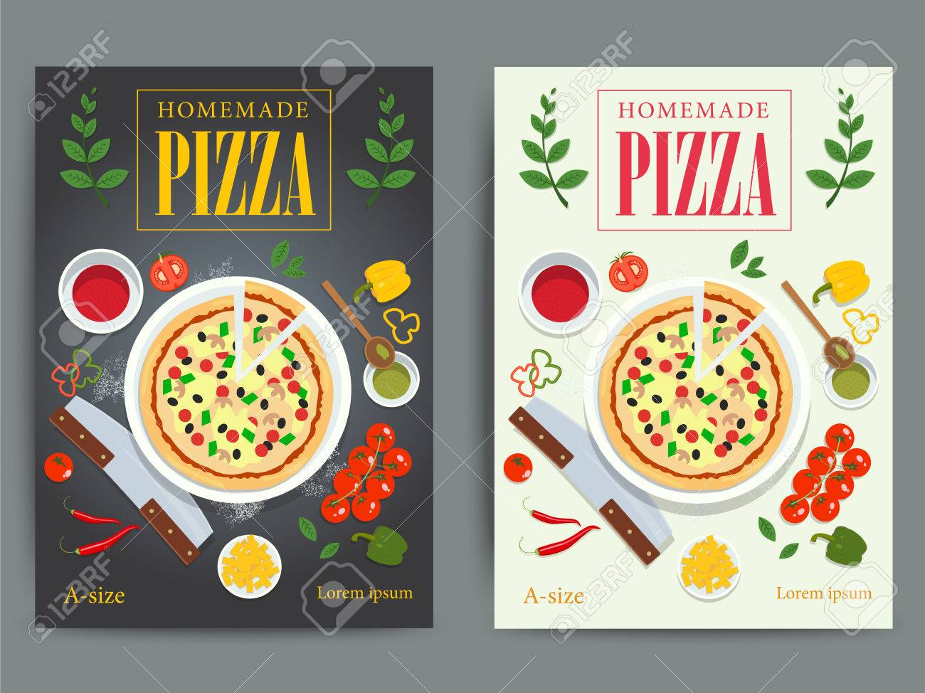 Set Of Bright Pizzeria Advertisement Posters Design Vector Italian Pizza Restaurant Ad Flyer Or Banner