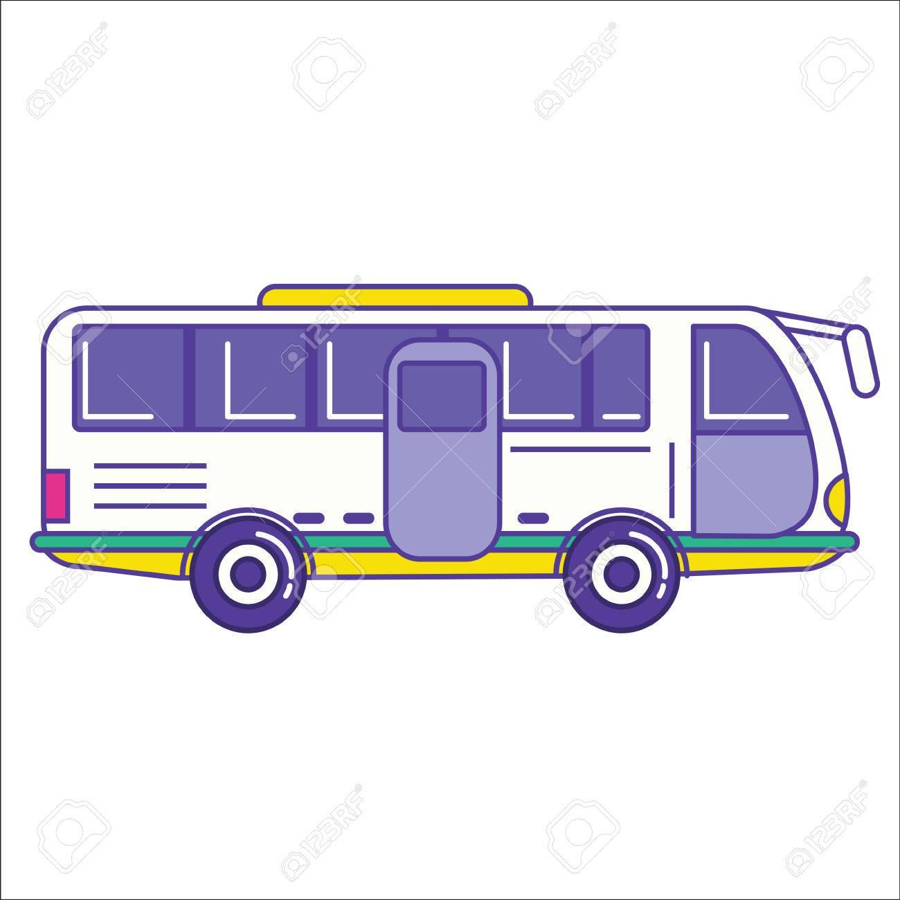 Attractive City Bus Icon In Trendy Cartoon Flat Line Style. Mass Transit Vehicle  Symbol. Autobus