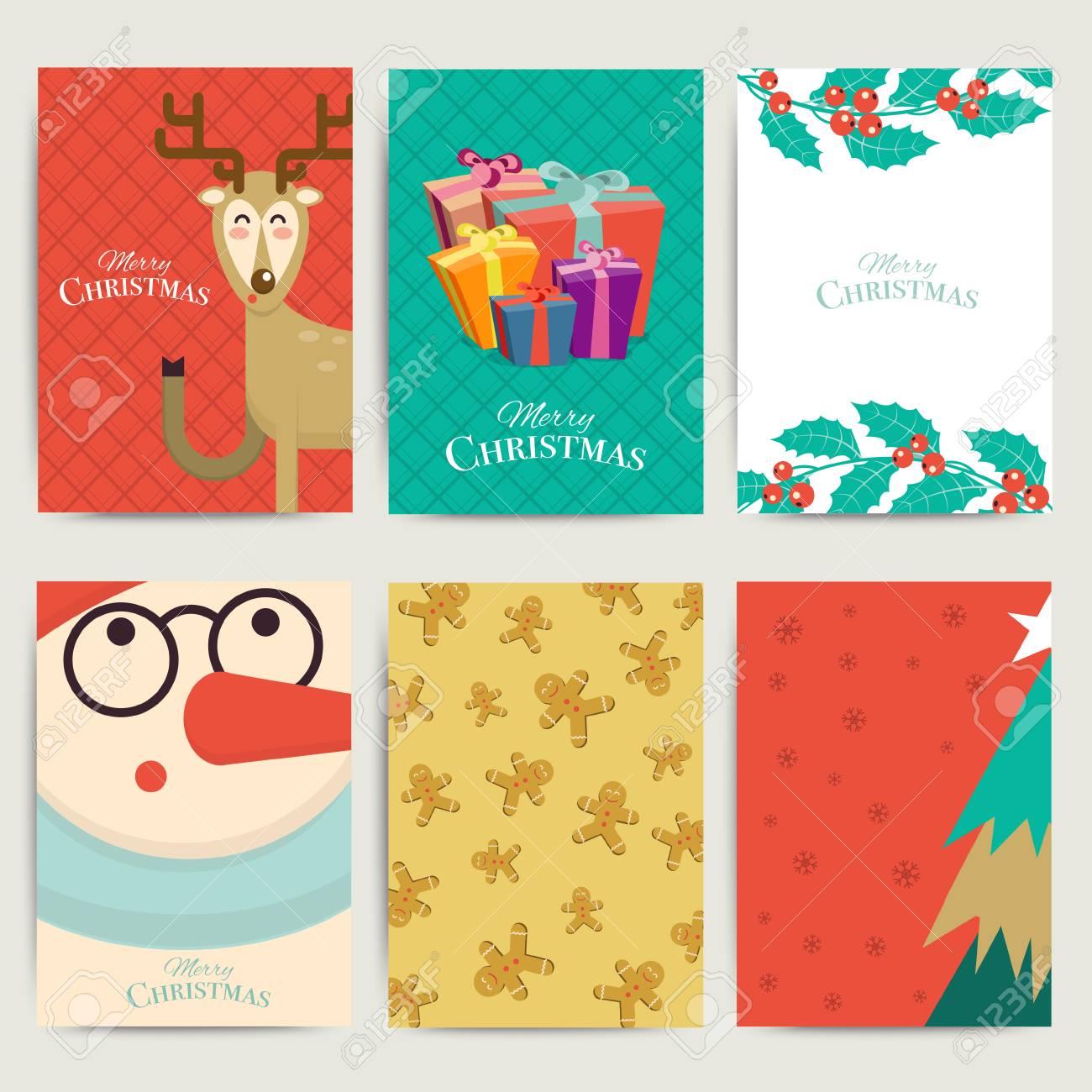christmas greeting card templateset vector xmas invitation layout
