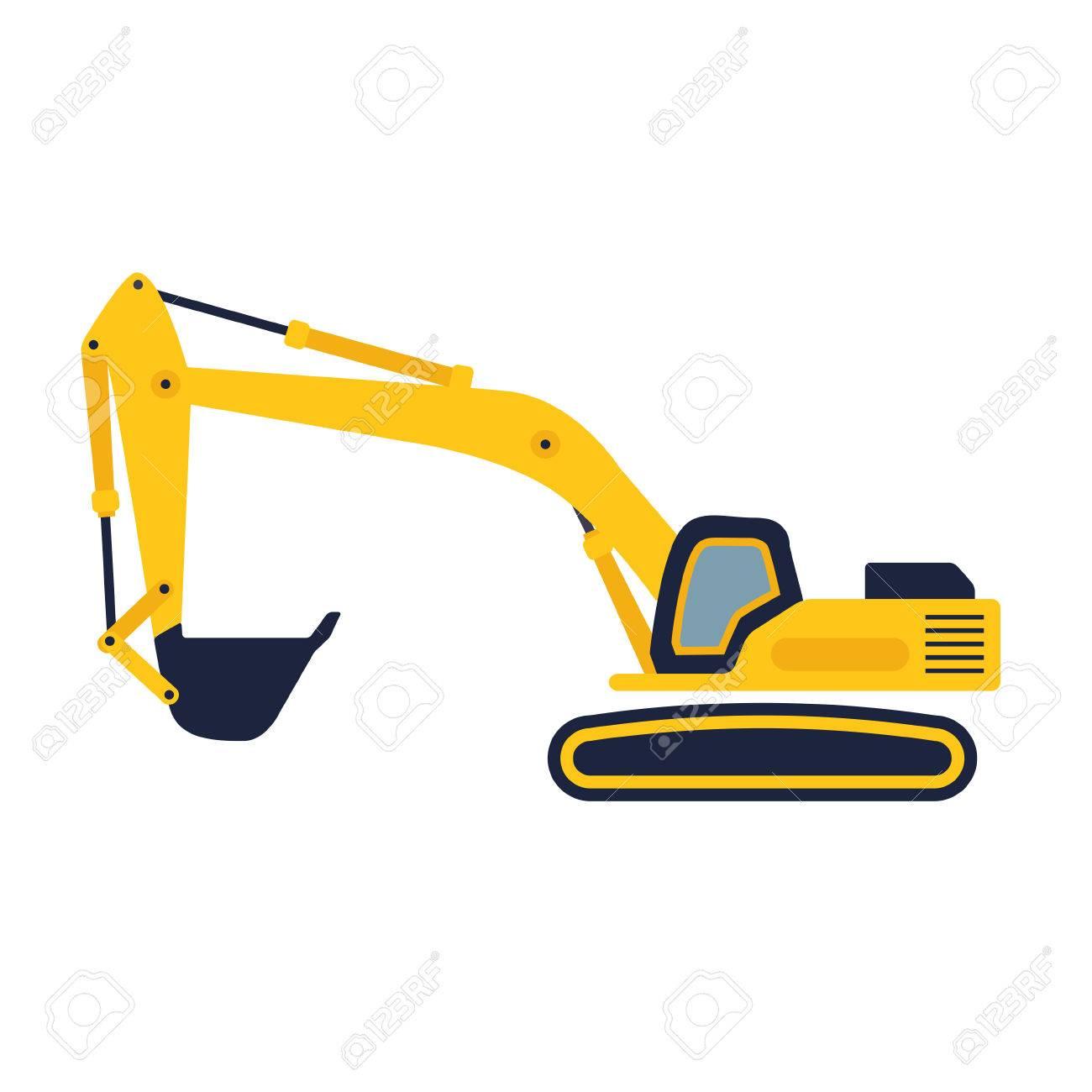 Hydraulic mining excavator vector icon  Heavy construction equipment