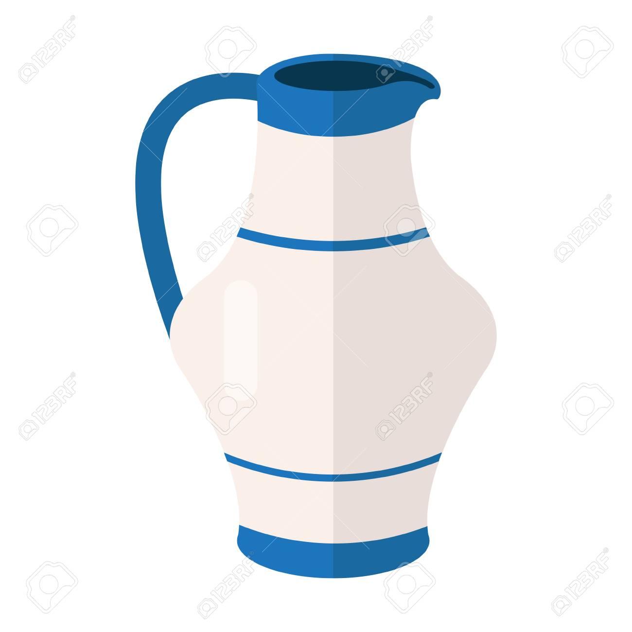 白青い水差しベクトル アイコンのイラストヘブライ語の色の水の水差し