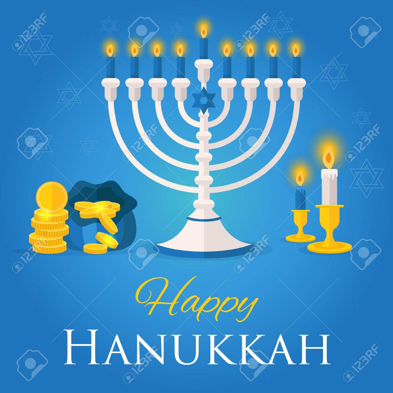 Holiday Of Hanukkah Web Banner Jewish Symbols For Celebration