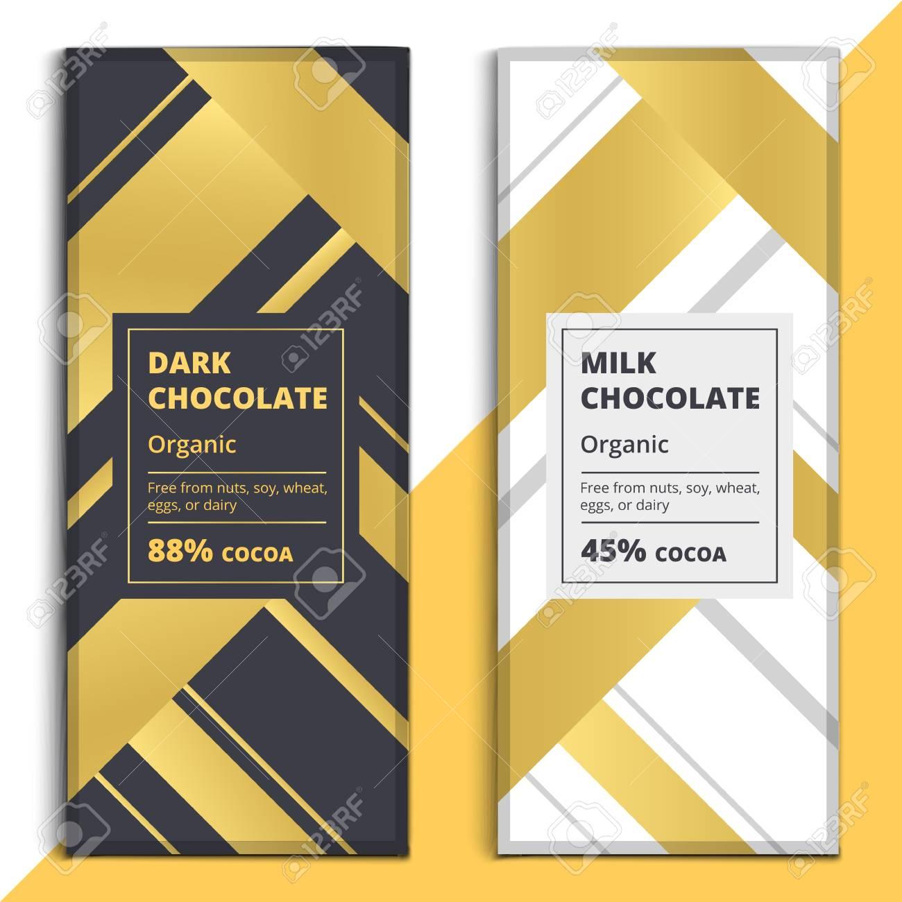 Oscuro Orgánica Y Diseño De Barra De Chocolate Con Leche. Choco ...