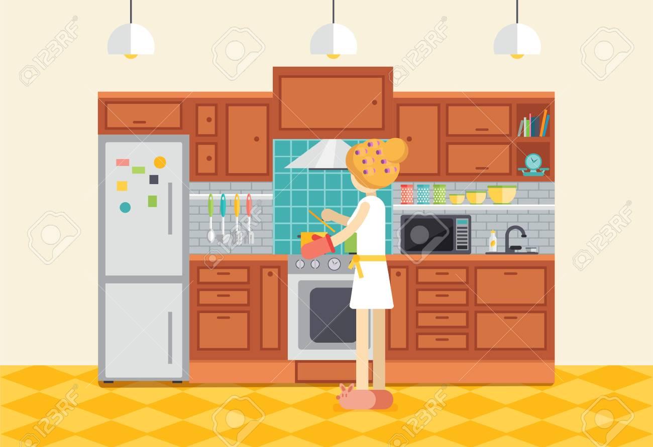 Mujer Joven O Nina Cocinando La Cena En La Cocina Ama De Casa