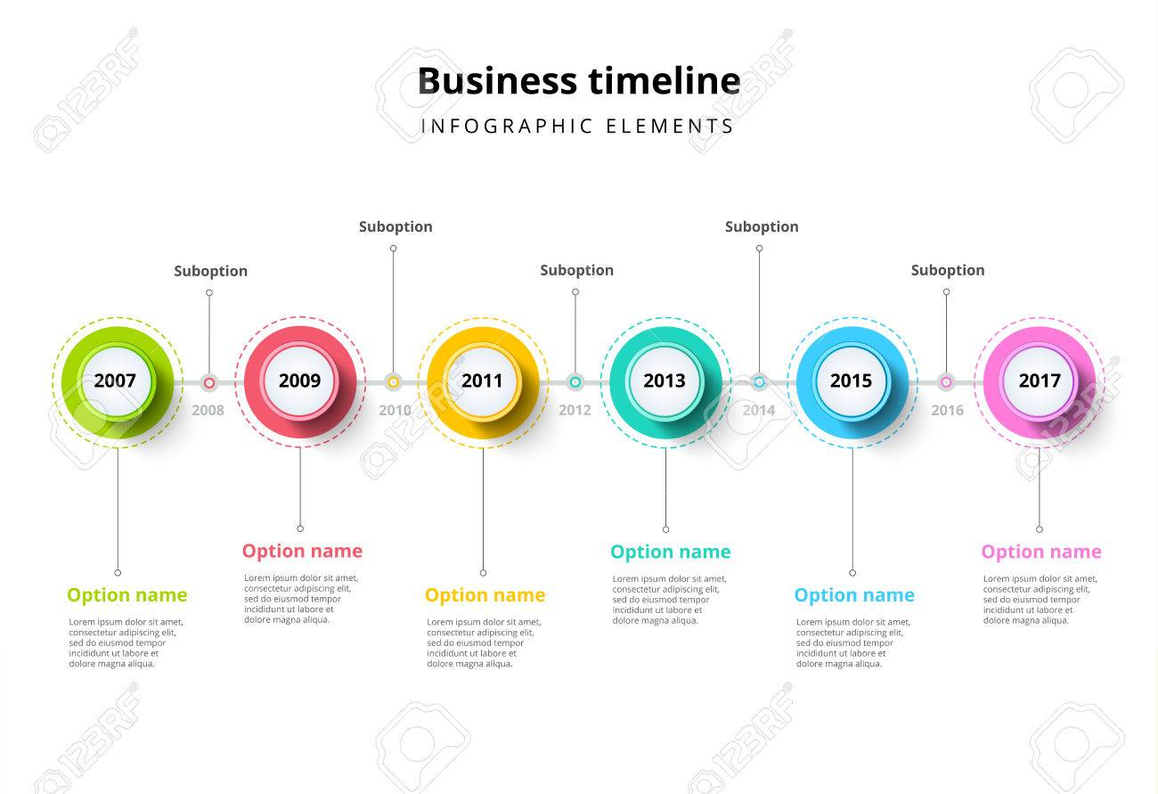 business timeline in step circles infographics corporate milestones