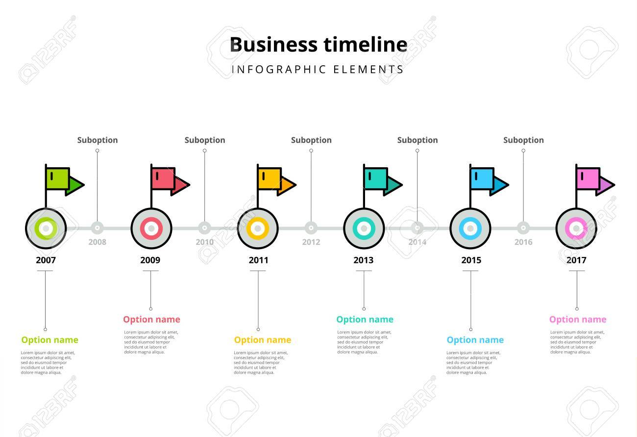 corporate milestones graph elements business timeline in step