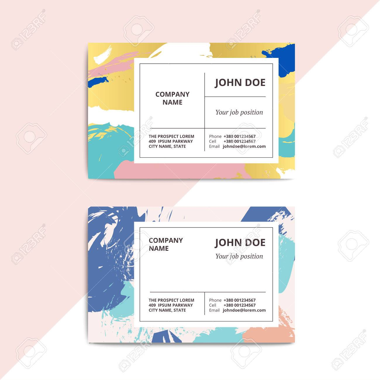 Trendy Abstract Business Card Templates Modern Luxury Beauty Salon Or Cosmetic Shop Layout With Artistic