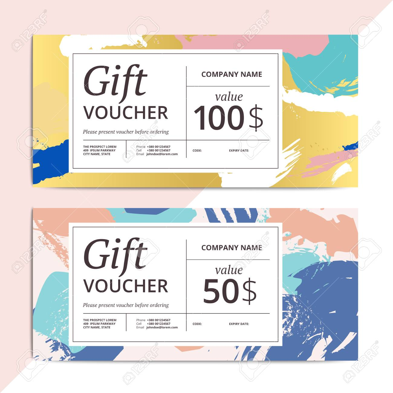 trendy abstract gift voucher card templates modern luxury discount