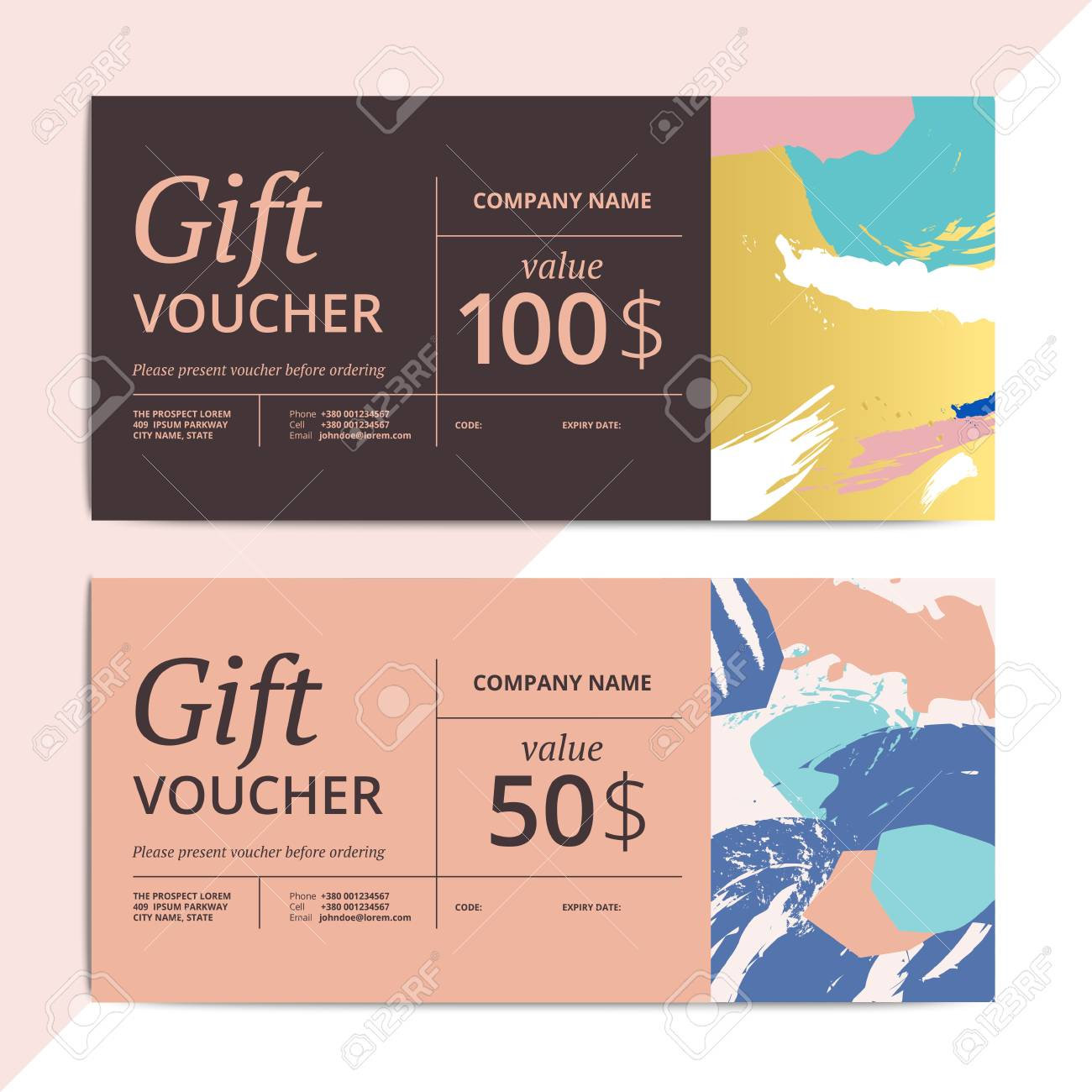 Trendy abstract gift voucher card templates modern luxury discount trendy abstract gift voucher card templates modern luxury discount coupon or certificate layout with artistic yelopaper Image collections