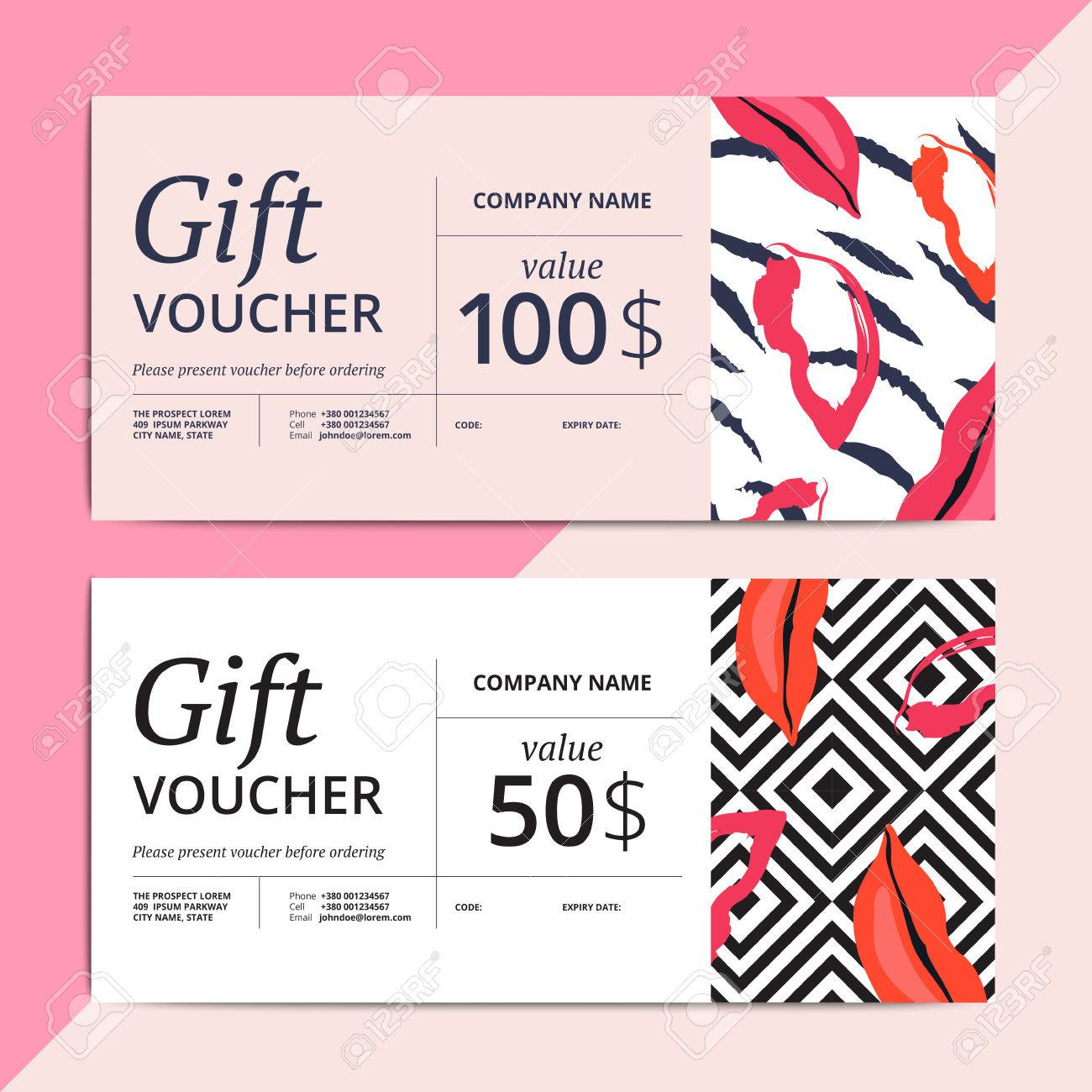 Trendy abstract gift voucher card templates modern luxury trendy abstract gift voucher card templates modern luxury discount coupon or certificate layout with artistic yadclub Choice Image