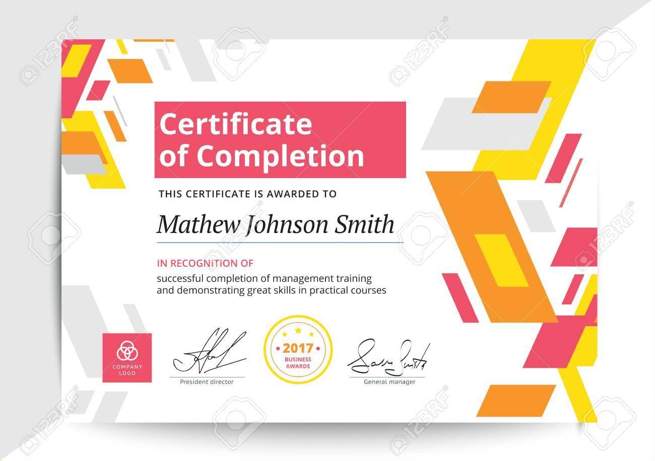 Abschlusszertifikat Vorlage In Modernem Design. Business Diplom ...