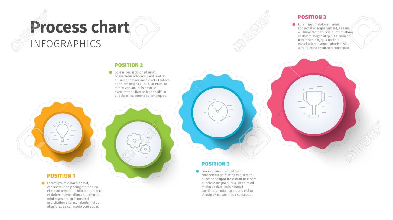 Business Process Chart Infographics With Step Circles. Circular ...