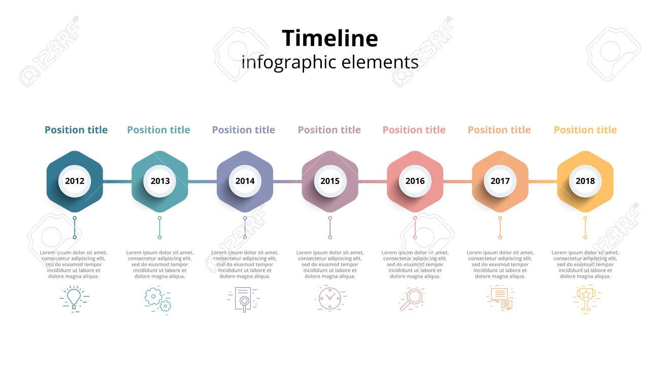 Infografía De Flujo De Trabajo De Línea De Tiempo De Negocio. Hitos ...