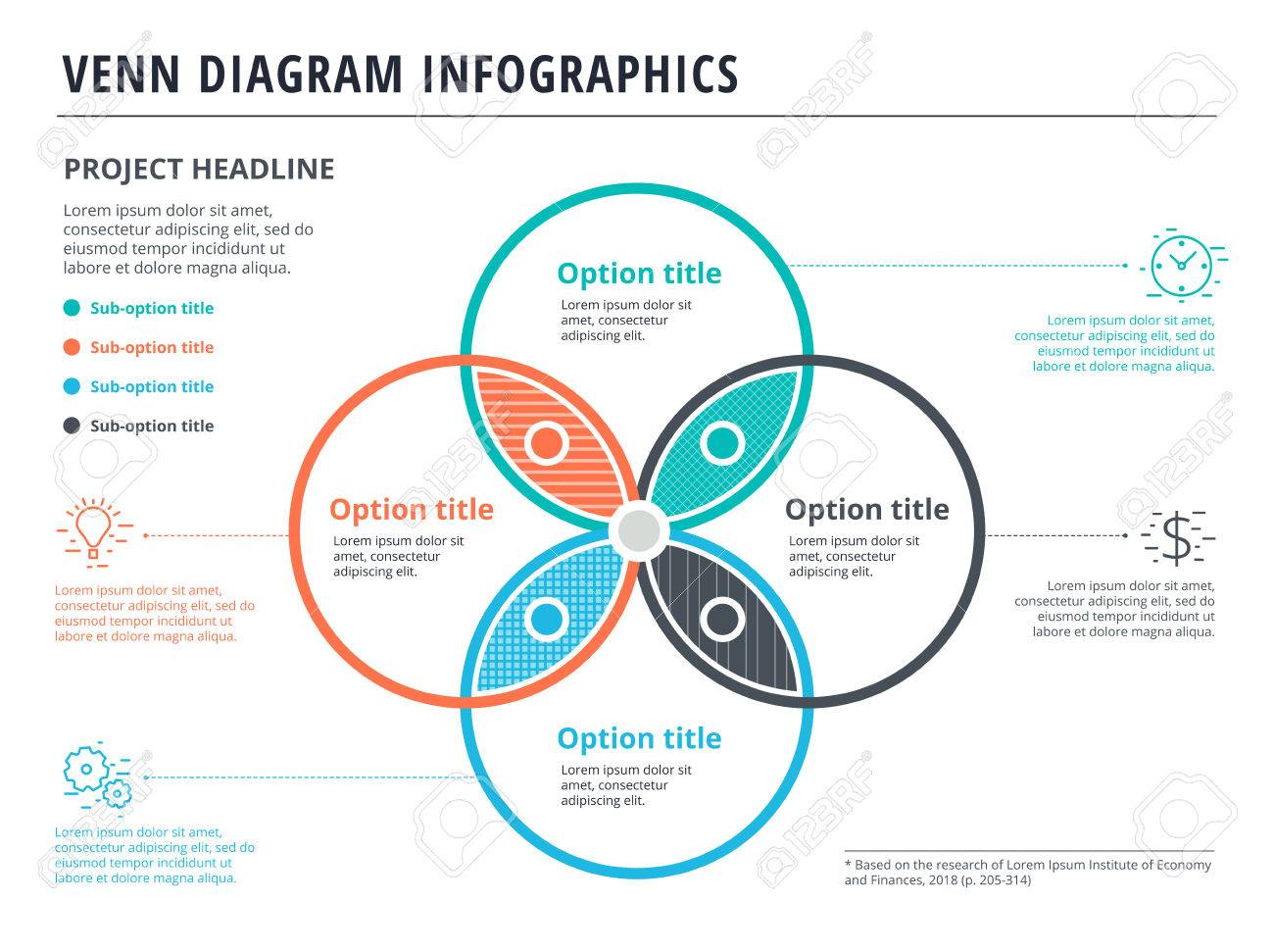 Venn diagram with 4 circles infographics template design vector venn diagram with 4 circles infographics template design vector overlapping shapes for set or logic pooptronica