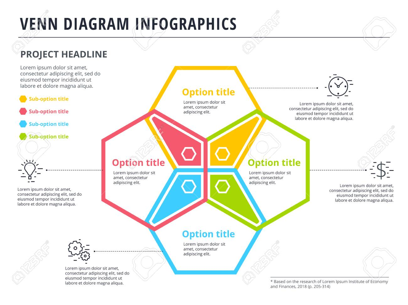 Venn diagram with 4 circles infographics template design vector venn diagram with 4 circles infographics template design vector overlapping shapes for set or logic pooptronica Gallery