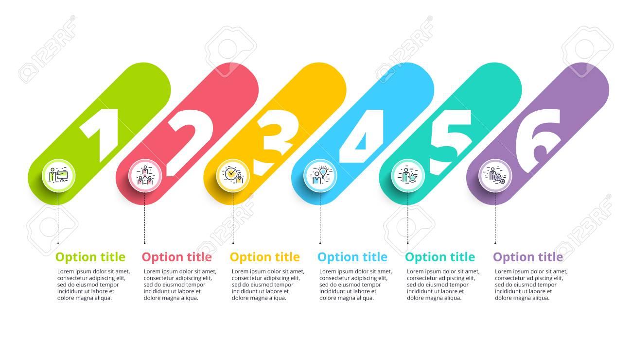 business process chart infographics with 6 step circles circular