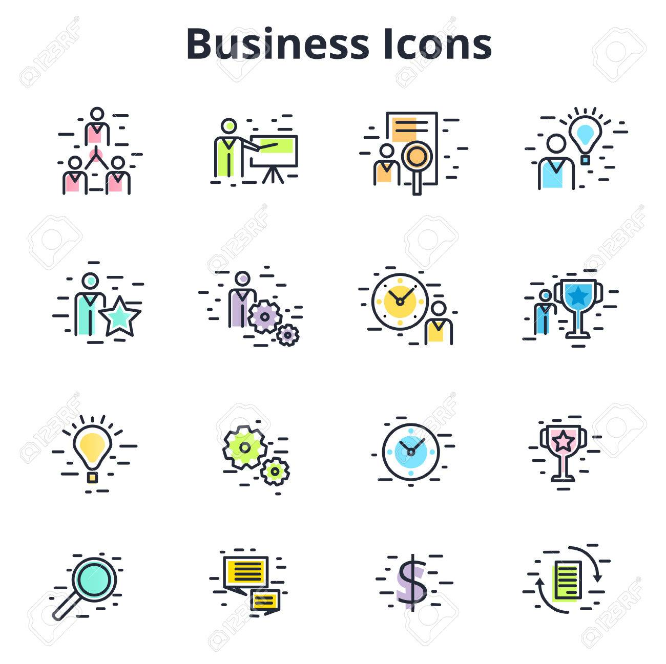 Set Of Business Icons In Line Flat Vector Design Corporate Symbols