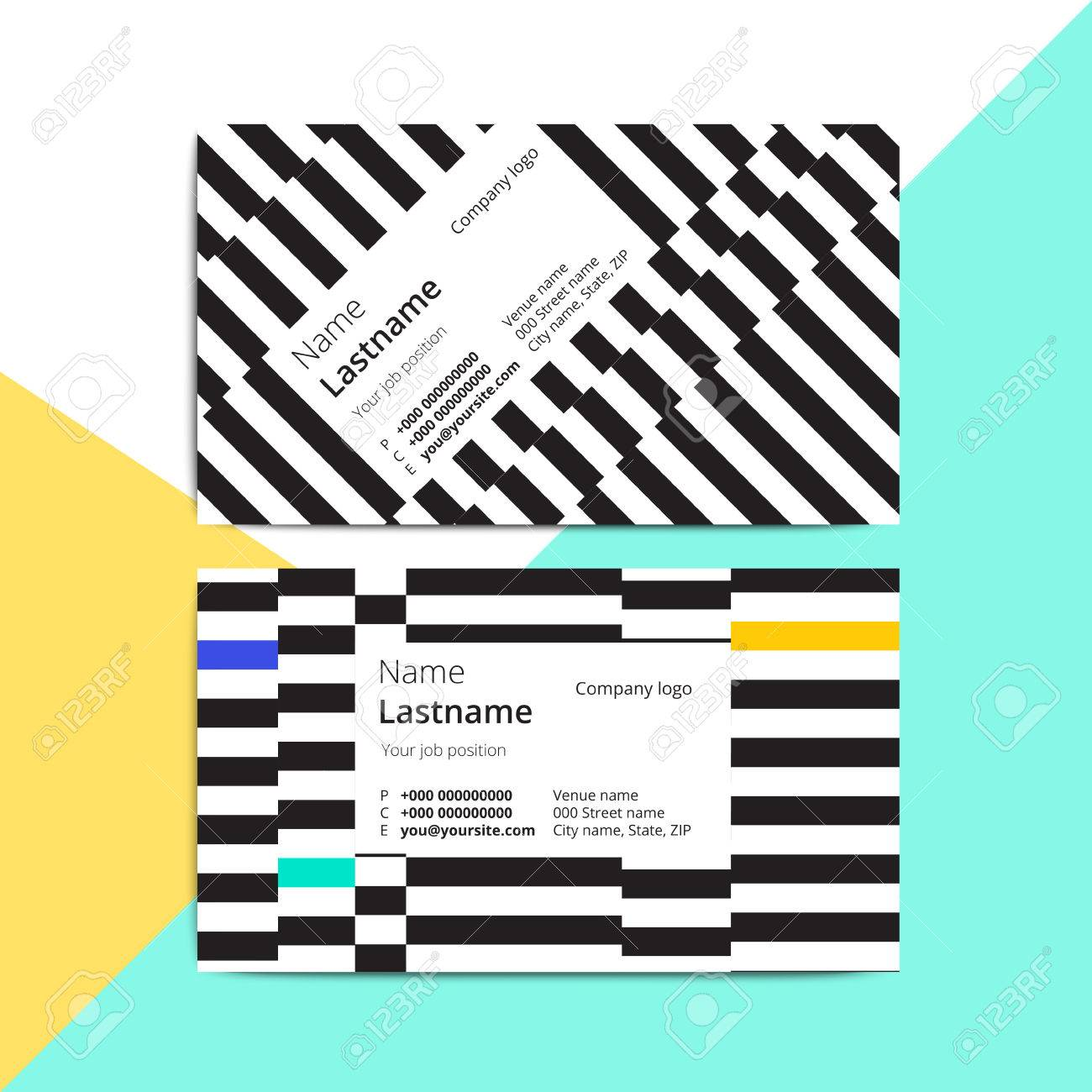 Trendy Abstract Business Card Templates. Modern Corporate Stationary ...