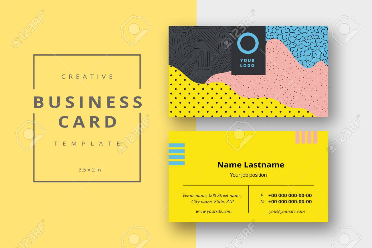 Trendy Minimal Abstract Business Card Template In Memphis Style ...
