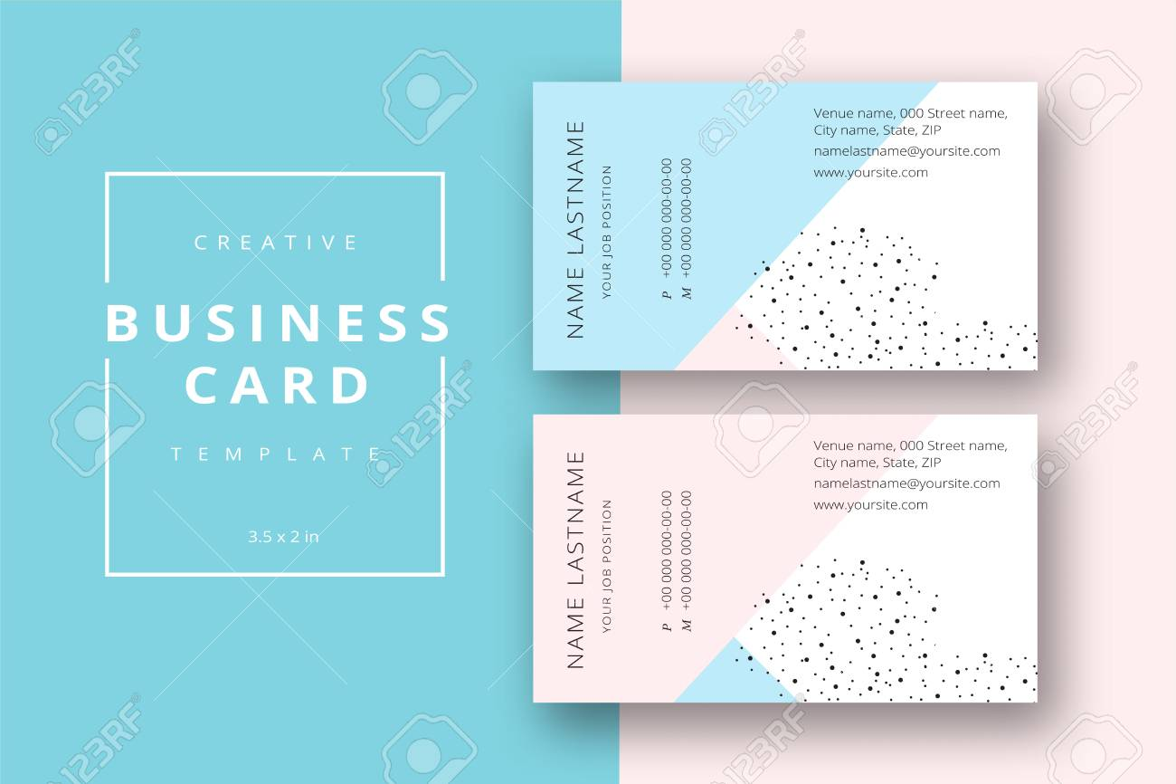 Trendy minimal abstract business card template in pink and blue. Modern corporate stationary id layout with geometric lines. Vector fashion background design with information sample name text. - 88596741
