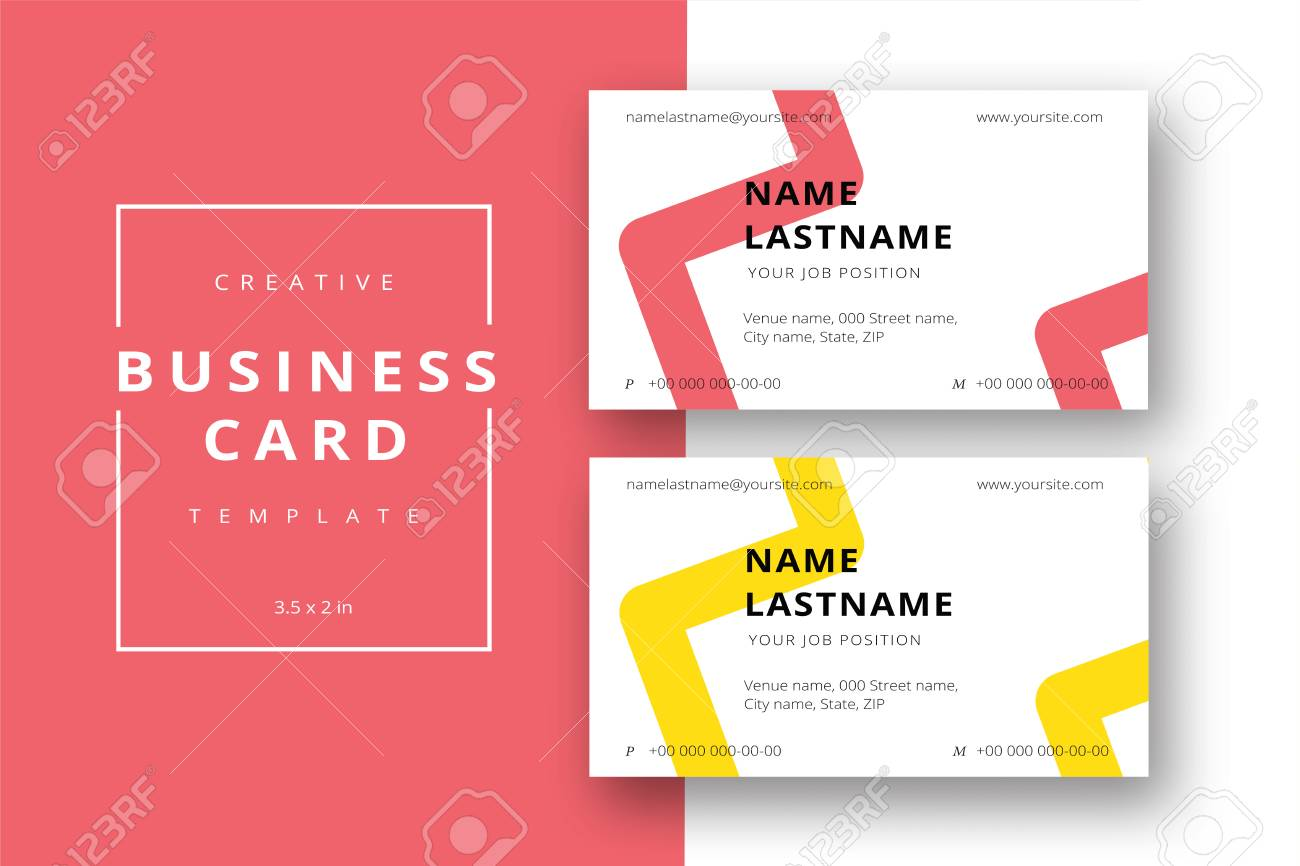 Trendy Minimal Abstract Business Card Template In Red And Yellow ...