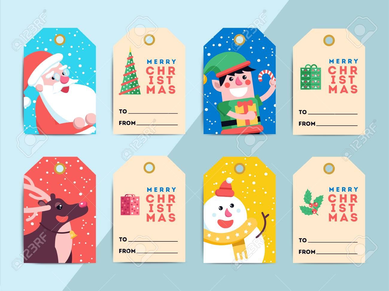 Conjunto De Plantillas De Etiquetas De Regalo De Navidad. Vector ...
