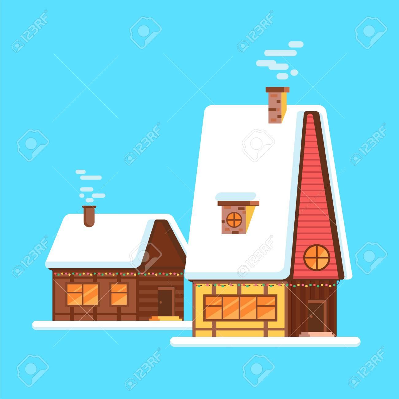 Maison de dessin animé brillant mignon en hiver vector huttes de village d hiver ou façades de bâtiments maisons de style européen à noël ou à noël