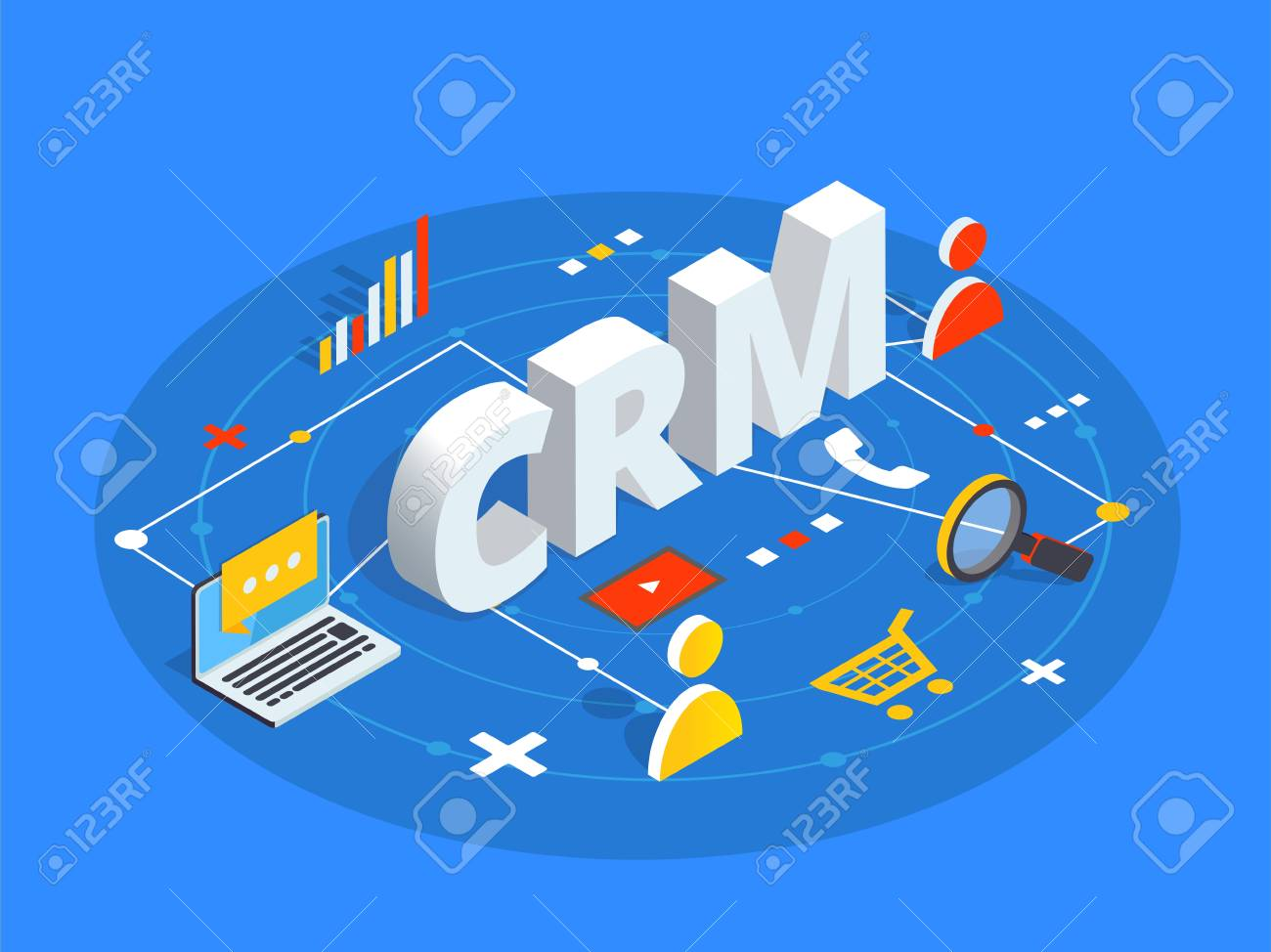 CRM isometric vector illustration. Customer relationship management concept background. Customer and company interaction approach. - 90412660
