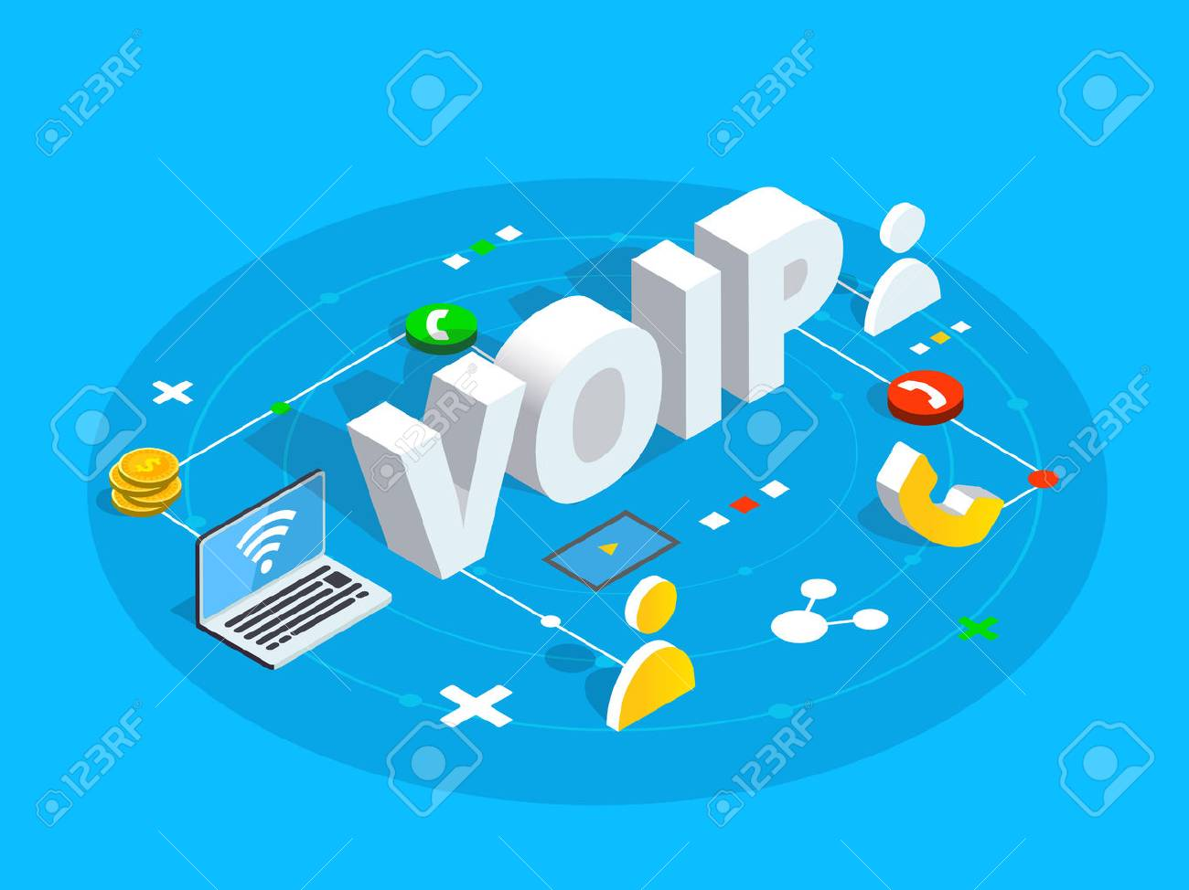 vector voip isometric vector concept illustration voice over ip or internet protocol technology background network phone call software