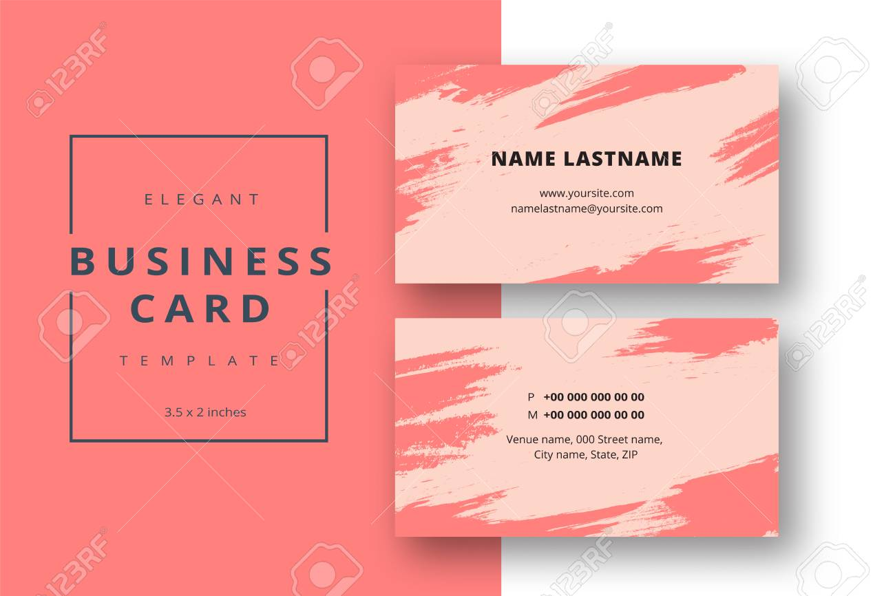 Trendy minimal abstract business card template modern corporate trendy minimal abstract business card template modern corporate stationery id layout with artistic brush strokes reheart Images